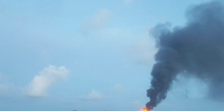 Crude oil barge explodes off Texas coast, 1 dead, one missing